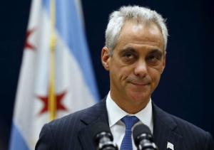 Chicago Mayor Rahm Emanuel listens to remarks at a news conference in Chicago